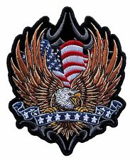 American Flag Eagle with stars on ribbon Embroidered Biker Patch FREE SHIP