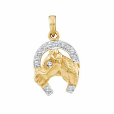 10k Two-tone Gold Womens Round Diamond Lucky Horseshoe Charm Pendant 1/10 Cttw