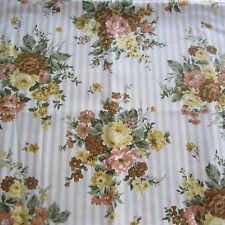 90x62 VINTAGE 1950S UPHOLSTERY COTTON FABRIC WAVERLY BONDED FLOWERS & STRIPES