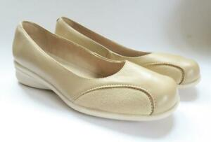 DAMART BEIGE LEATHER & CREAM SUEDE LOW WEDGE SHOES  PUMPS SIZE UK: 5 SLIP ON