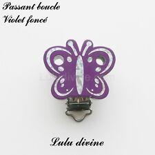 Pince / Clip  bois, attache tétine, passant boucle, Papillon argenté : Violet fo
