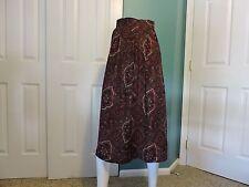 Womens Vintage Worthington Rayon A-Line Pleated Paisley Skirt Sz 6 Usa Vgc