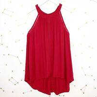 Torrid Tank Top Plus Size 1X Red High Neck Sleeveless Flowy Crochet Gauzy