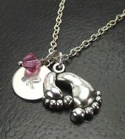 Custom Mother Child Feet Necklace with Swarovski Birthstone Crystal Initial Disk