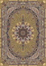 Ochre Tabriz Persian Inspired Collection 900 KPSI Qum Bamboo Silk 7 x 10 New Rug