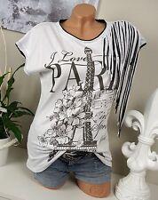 Italy T-Shirt VINTAGE Shirt Fransen Weiß Hippie * I Love Paris * 36 38 40 Boho