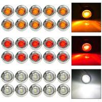 """12V 3/4"""" Mini LED Small Round Side Marker Light Truck Trailer RV Car Bullet Lamp"""