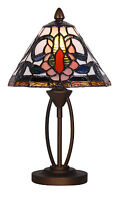 TIFFANY STYLE UNIQUE STAINED GLASS DESK TABLE LAMP - 7.87'' WIDE-