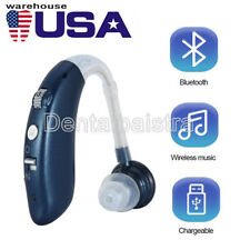 Digital Bluetooth Rechargeable Hearing Aid Mini In Ear Adjustable USB Blue USPS