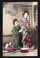 Japonés Japan Post oficinas en China 1913 MATASELLOS Sello en Geisha Postal PC