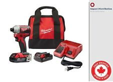 "Milwaukee 2850-22 M18 Compact GEN II Brushless 1/4"" Hex Impact Driver Kit"