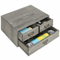 MyGift Vintage Gray Wooden 3-Drawer Desktop Organizer