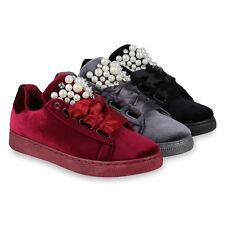 Damen Sneakers Low Zierperlen Strass Satinoptik Samtoptik 818403 Schuhe