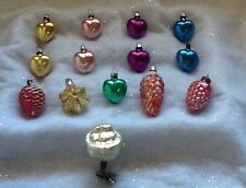 vintage Mercury glass Christmas Ornaments heart feather tree West Germany