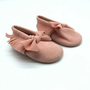 Baby Girls Moccasin Booties Fringe Bow Faux Suede Slip On Pink Size 2