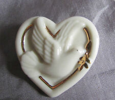 """LENOX DOVE OF PEACE OLIVE BRANCH CREAM & GOLD PORCELAIN BROOCH 1 1/4"""" X 1 1/4"""""""