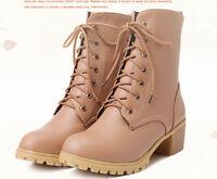 botas invierno alto cómodo zapatos de tacón mujer 5 cm beige 8769
