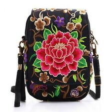 New Women Mini Shoulder Bag Cell Phone Cash Crossbody Bag Embroidered Wallet