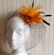 orange feather fascinator black french veiling veil hair clip brooch headpiece