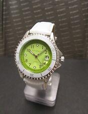 Bergmann 1986 * Damen-Quartz-Uhr * Armband Weiss * Grünes Ziffernblatt * Neu