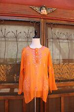 Orange Bohemian Indonesian Embroidered sequin Gauze Kaftan Blouse sz XL
