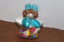 CHERRY DESIGNS Crazy Quilt POLAND BLOWN Glass Ornament ANGEL BLUE NEW retired