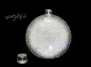 Any Color CRYSTALLIZED Flask Circle Custom Bling w/Swarovski Crystals Pocket Sze