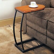 Sofa Table Couch Tray Side Cup Holder Magazine TV Dinning Snack Oak Black Accent