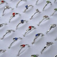 80/100Pcs Wholesale Crystal Mixed Rings Bulk Alloy Finger Ring Bands Jewelry Lot