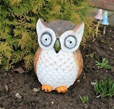 Solar Powered Decorative Large Garden Ceramic Ornament Owl Light  LED 35cm