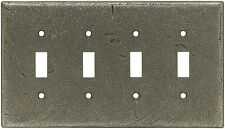 Quad Toggle Switch Wall Plate Distressed Rustic Silver Brainerd 64723