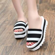 Womens Platform Med Wedge Heels Slippers Beach Summer Sandals Shoes White US8