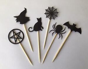 12 Cupcake Toppers Party Decoration Cup Cake Topper Food Flags - Halloween
