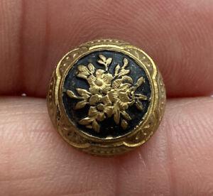 """Antique Vintage Enamel Button Gold Gilt With Flower Bouquet 9/16"""""""