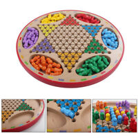 LN_ 2 in 1 Double-Faced Wooden Chinese Checkers Flying Ludo Kid Family Toy Tre