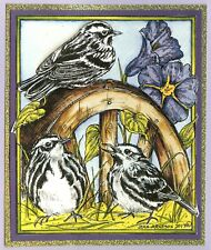 BIRDS Black and White Warblers Wood Mounted Rubber Stamp NORTHWOODS P10198 New