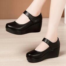 Women High Wedge Heel Mary Jane Round Toe Causal Creeper Comfort Nurse Shoes 8