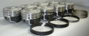 Speed Pro Chevy 350/5.7 Hypereutectic Coated Dome Pistons+Cast Rings 10.7:1 040