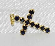 18ct Gold Blue Sapphire Cross Pendant
