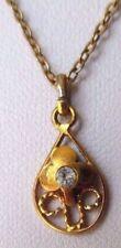 pendentif chaîne goutte cz couleur diamant bijou vintage couleur or 4441