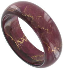 "Bangle Bracelet Vintage 80S Painted Fuschia Purple Gold Color Hong Kong Wide 1"""