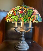 Tiffany Style Table Lamp Stained Glass Beautiful  H19""