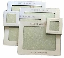 Silver Glitter Design Set of 2 Heat Resistant Kitchen Dining Table Mat Placemats