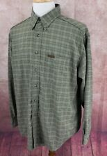 Woolrich Outdoorwear Long Sleeve Polyester/Nylon USA Green Check Shirt Men's XL