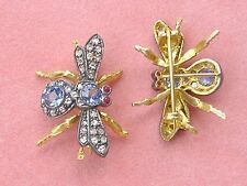 ANTIQUE STYLE DIAMOND CEYLON SAPPHIRE RUBY SILVER-GILT WINGED BUG FLY PIN BROOCH