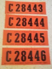Vtg 1957 Michigan Resident Hunting License lot of 4 w/Consecutive Numbers  Q144