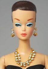 Barbie Doll Vintage Handmade Pink Stone Necklace Earrings Jewelry Set NE2151