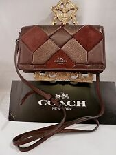 NWT COACH Canyon Quilt Crossbody Mixed Leather Oxblood /Bronze HandBag 55975