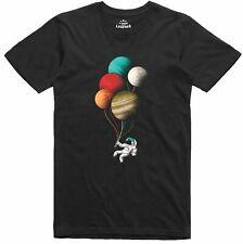 Spaceman astronaut t shirt Planet Balloons Funny 100% Ring-Spun Cotton Top