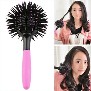 360° 3D Ball Bomb Curl Brush Styling Salon Round Hair Curling Curler Comb Tool
